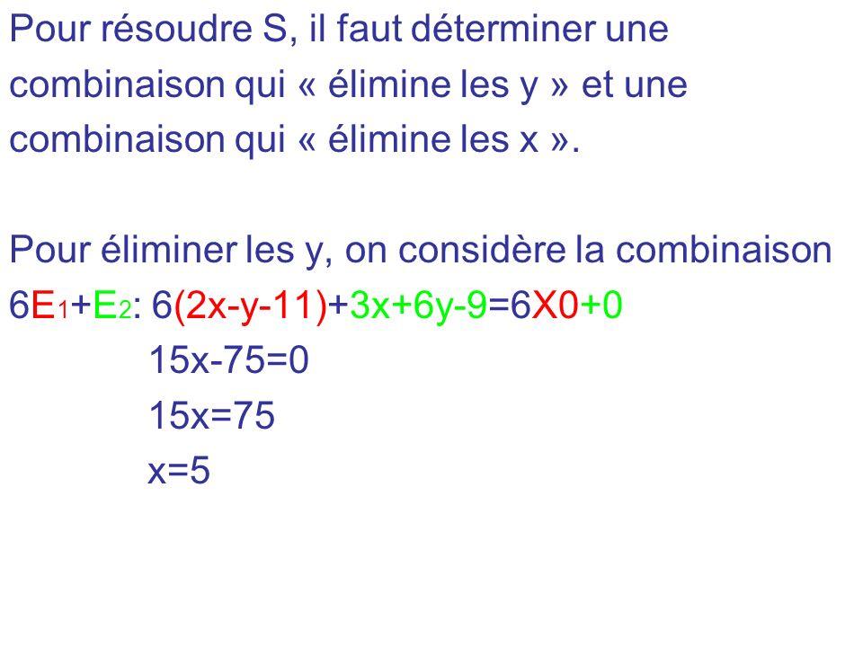 Pour résoudre S, il faut déterminer une