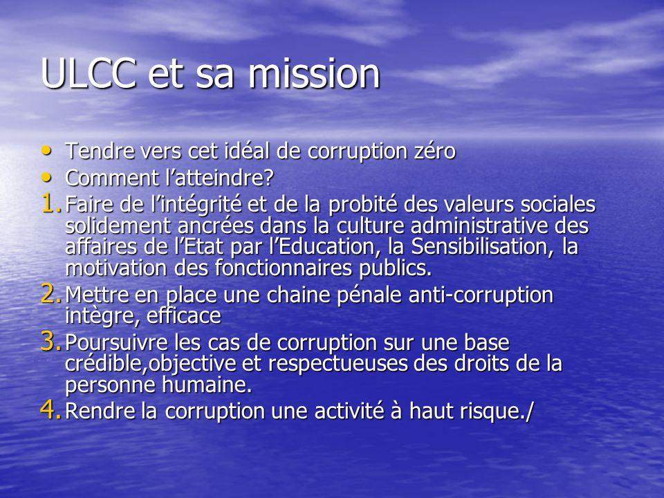 ULCC et sa mission Tendre vers cet idéal de corruption zéro