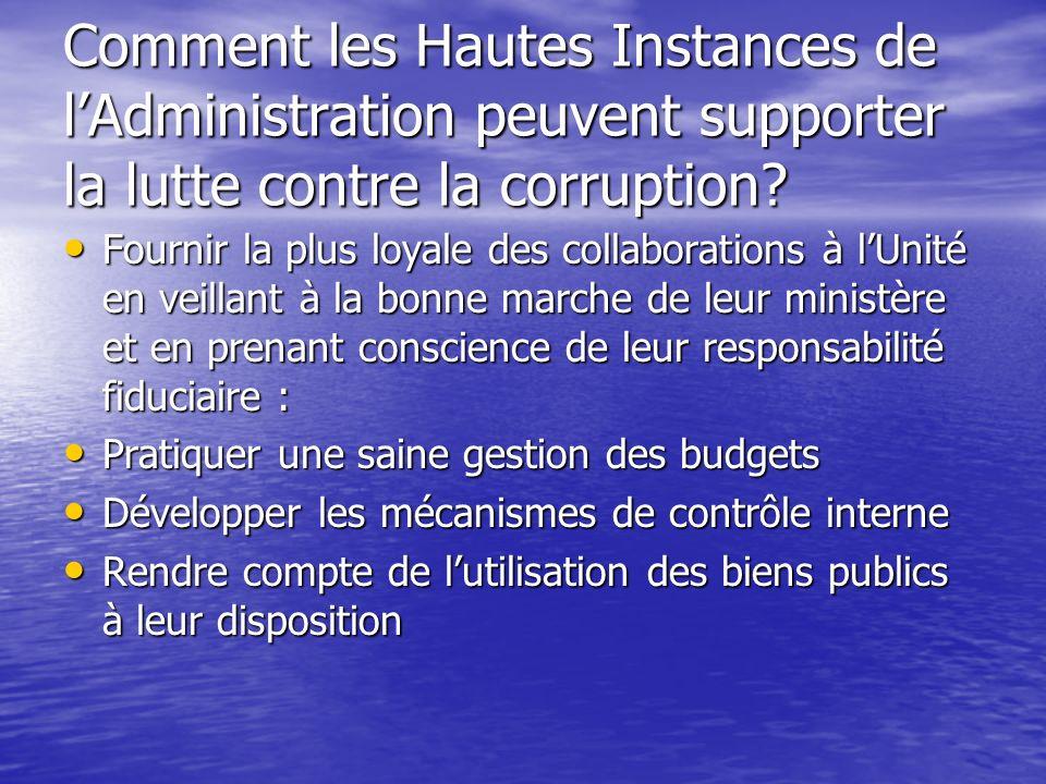 Comment les Hautes Instances de l'Administration peuvent supporter la lutte contre la corruption