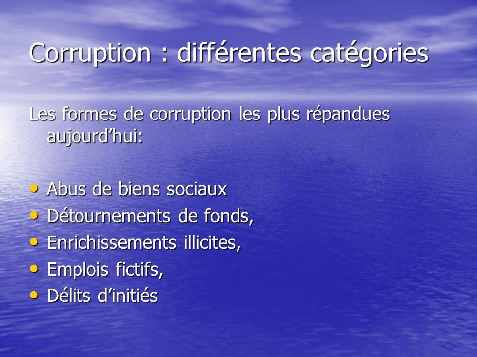 Corruption : différentes catégories