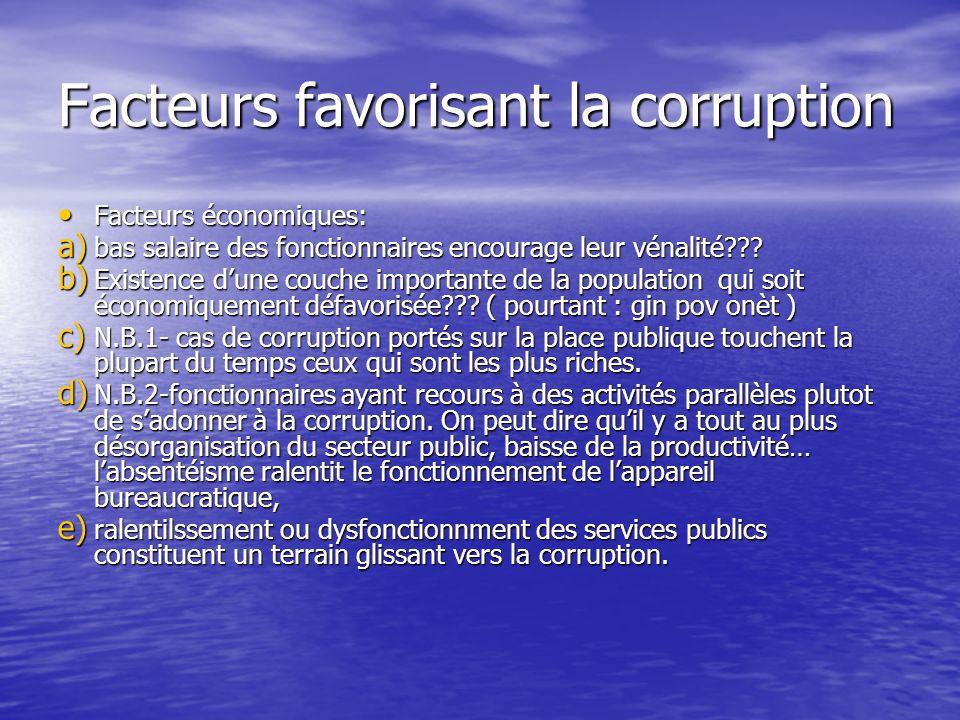 Facteurs favorisant la corruption