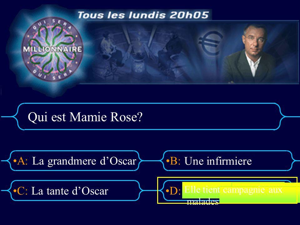 Qui est Mamie Rose La grandmere d'Oscar Une infirmiere