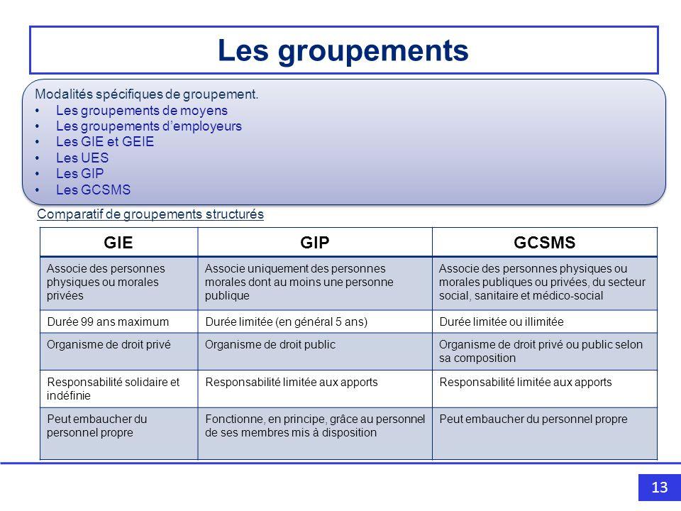 Les groupements GIE GIP GCSMS Modalités spécifiques de groupement.