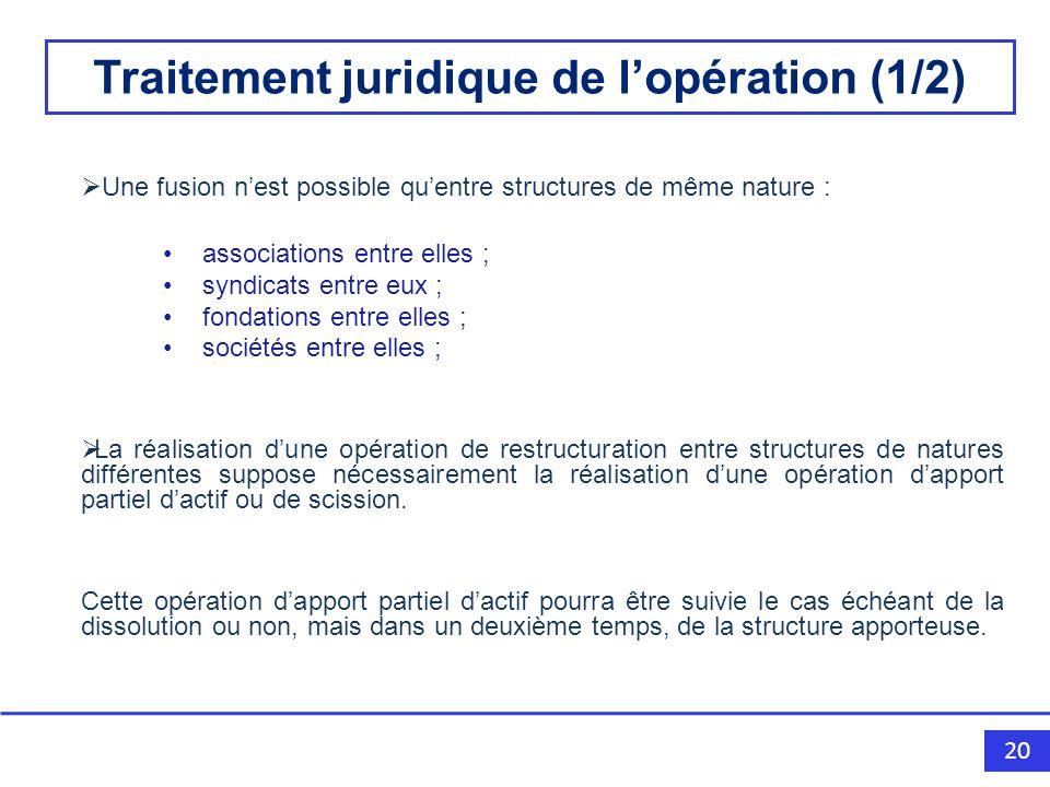 Traitement juridique de l'opération (1/2)
