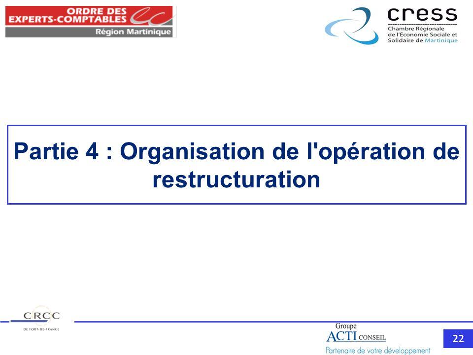 Partie 4 : Organisation de l opération de restructuration