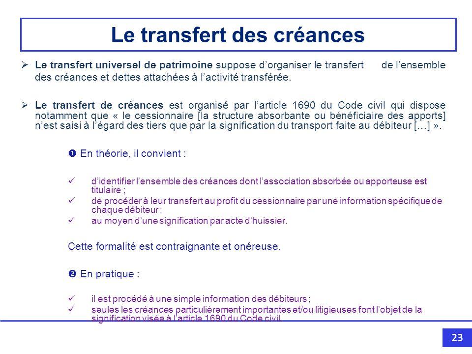 Le transfert des créances