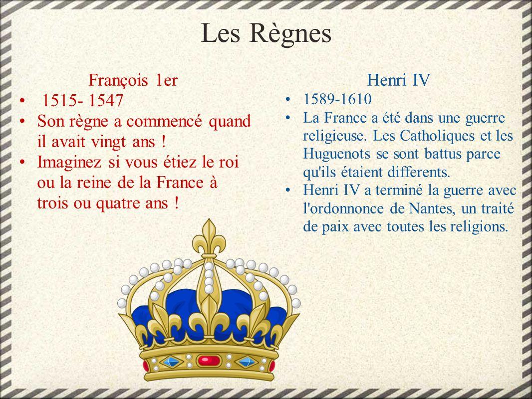 Les Règnes François 1er 1515- 1547