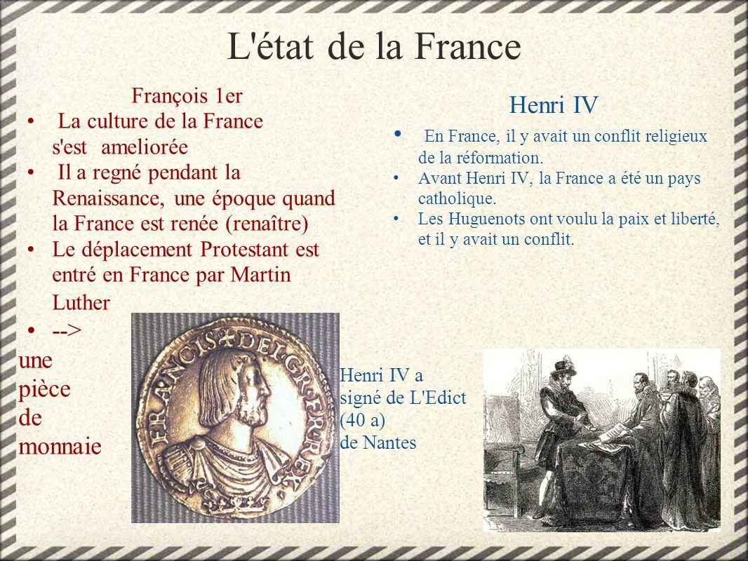 L état de la France Henri IV