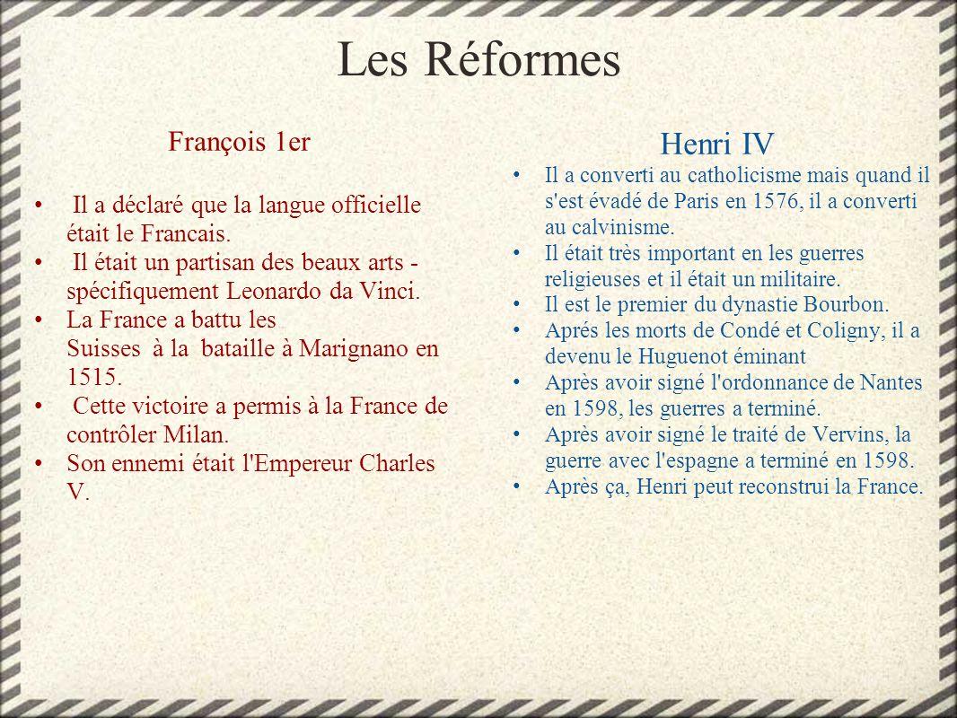 Les Réformes Henri IV François 1er