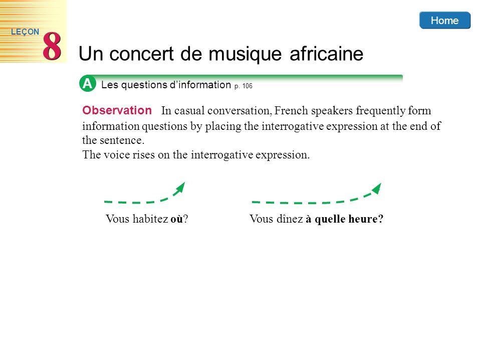 A Les questions d'information p. 106.