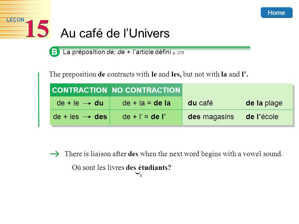 B La préposition de; de + l'article défini p. 219. The preposition de contracts with le and les, but not with la and l'.