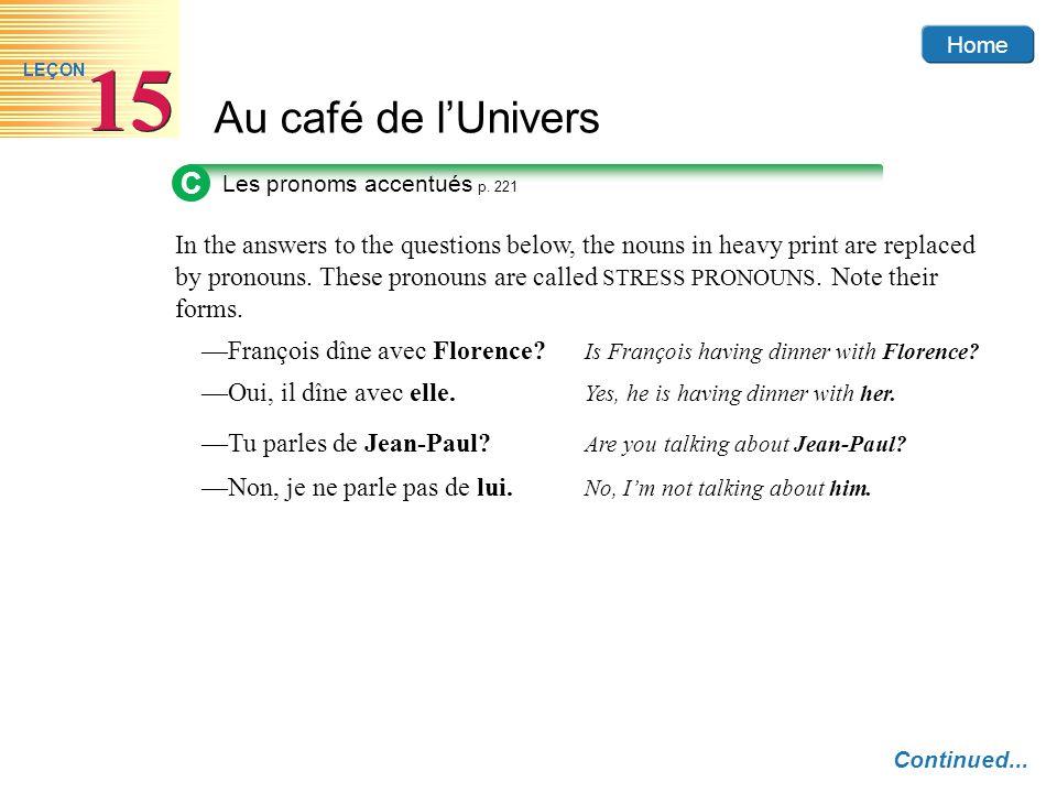 C Les pronoms accentués p. 221.