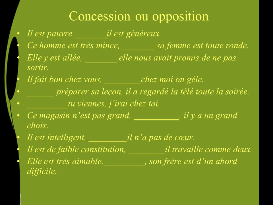Concession ou opposition