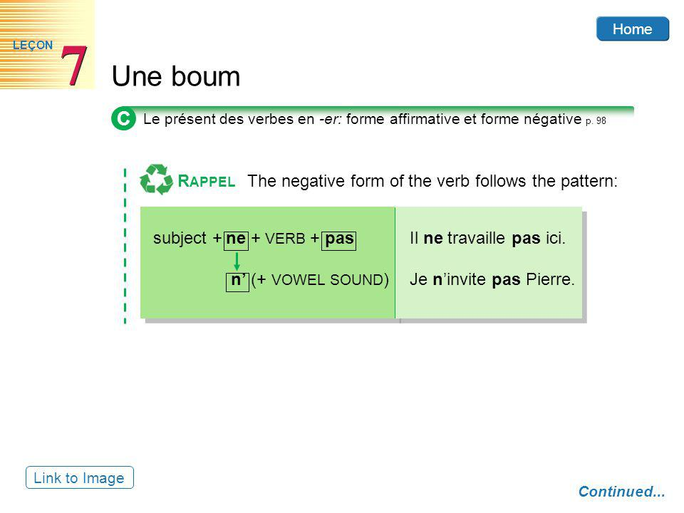 C RAPPEL The negative form of the verb follows the pattern: