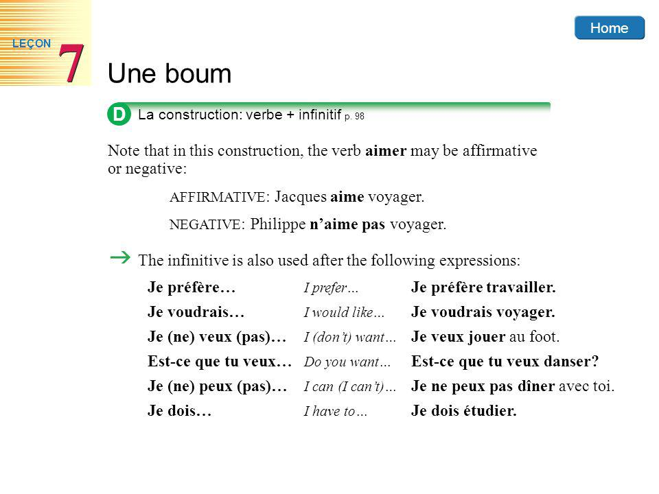 D La construction: verbe + infinitif p. 98. Note that in this construction, the verb aimer may be affirmative or negative: