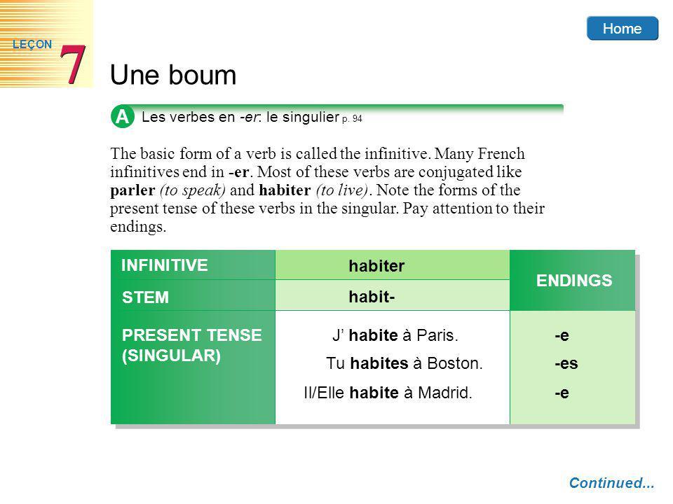 A Les verbes en -er: le singulier p. 94.