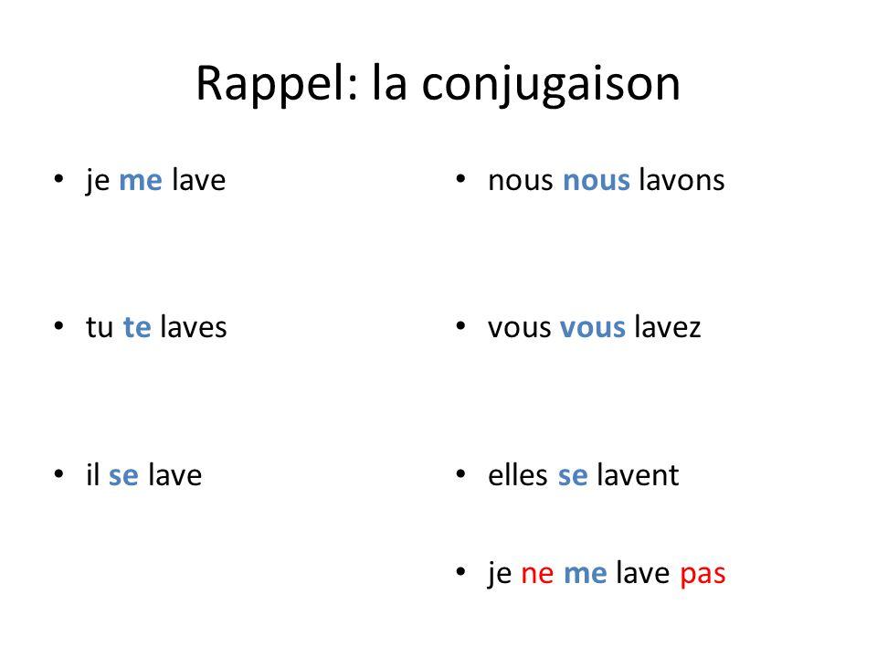 Rappel: la conjugaison