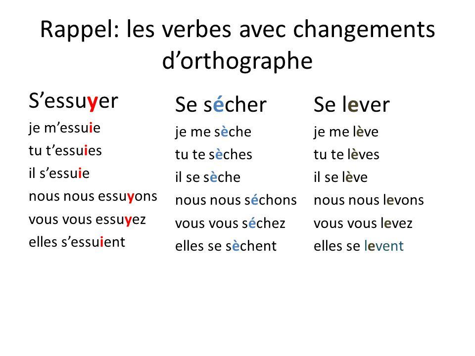 Rappel: les verbes avec changements d'orthographe
