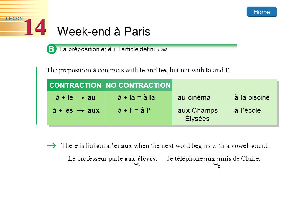 B The preposition à contracts with le and les, but not with la and l'.