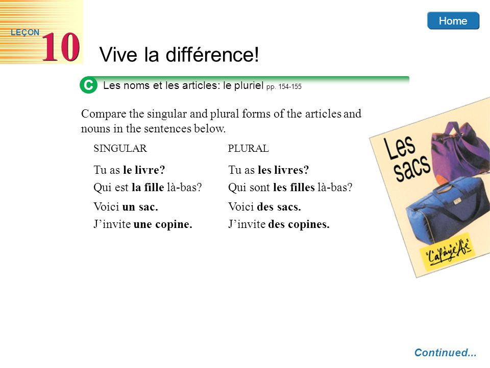 C Les noms et les articles: le pluriel pp. 154-155. Compare the singular and plural forms of the articles and nouns in the sentences below.