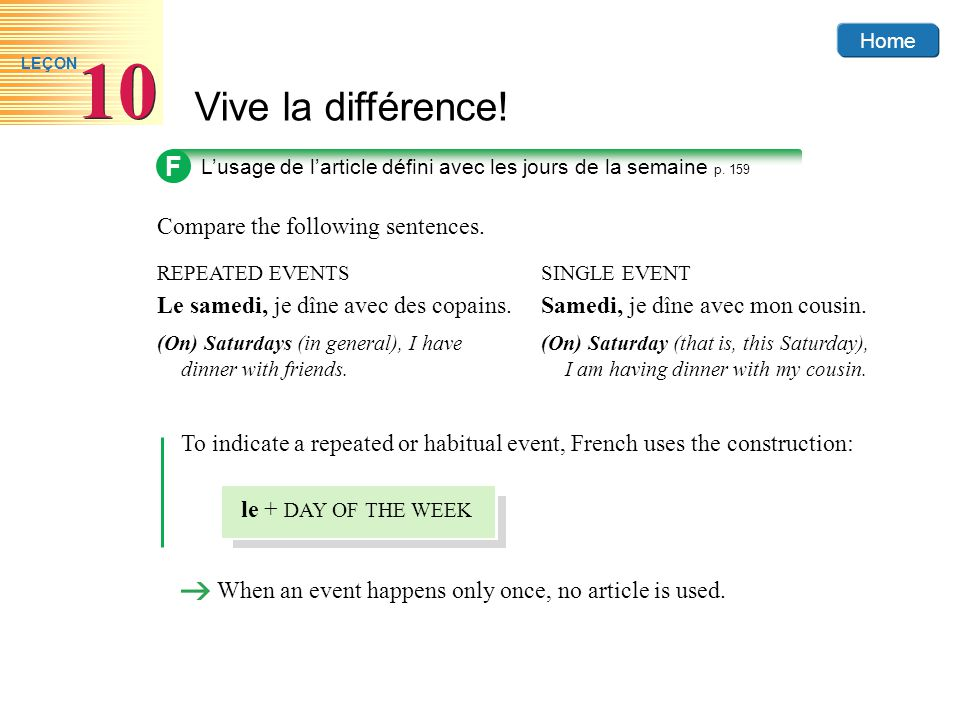 F Compare the following sentences.