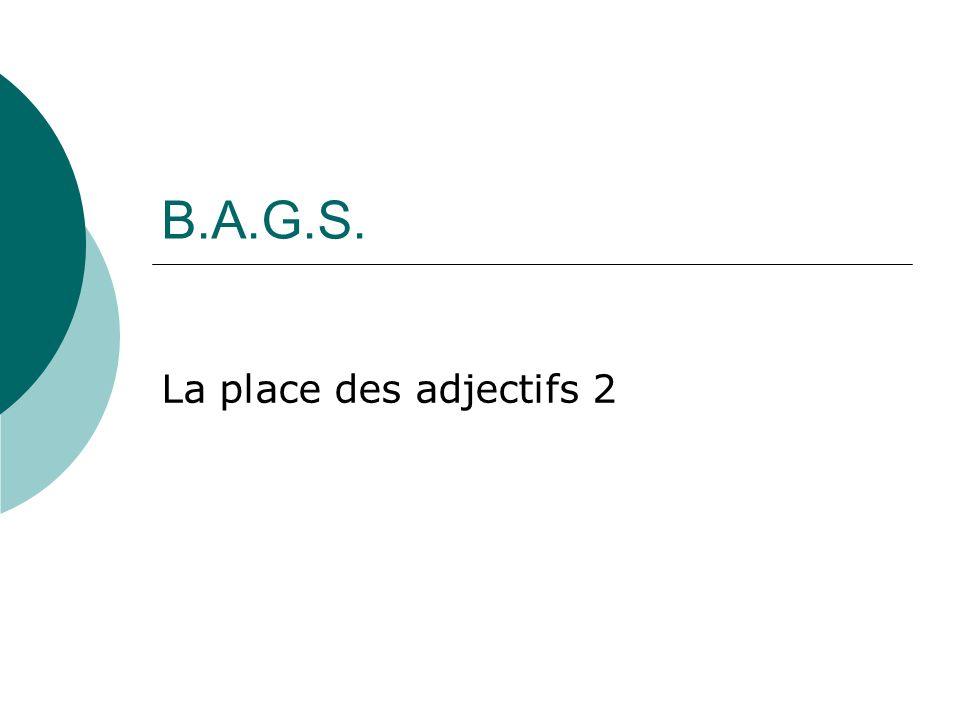 B.A.G.S. La place des adjectifs 2