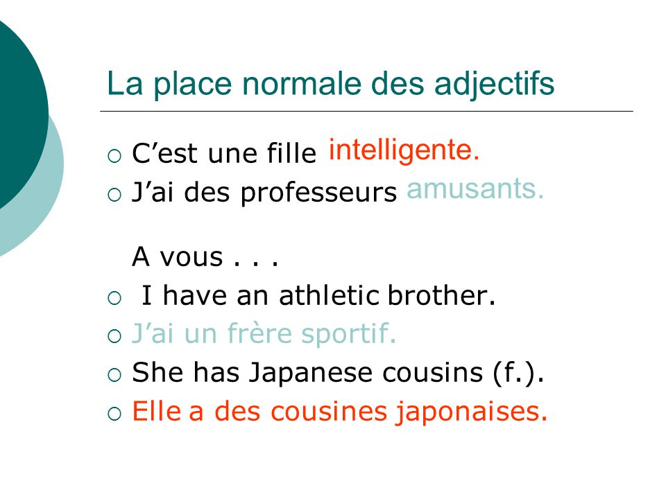 La place normale des adjectifs