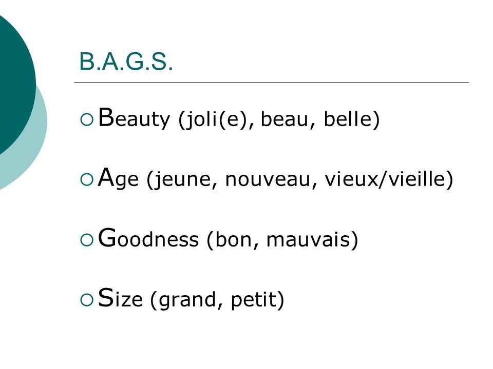 Beauty (joli(e), beau, belle) Age (jeune, nouveau, vieux/vieille)