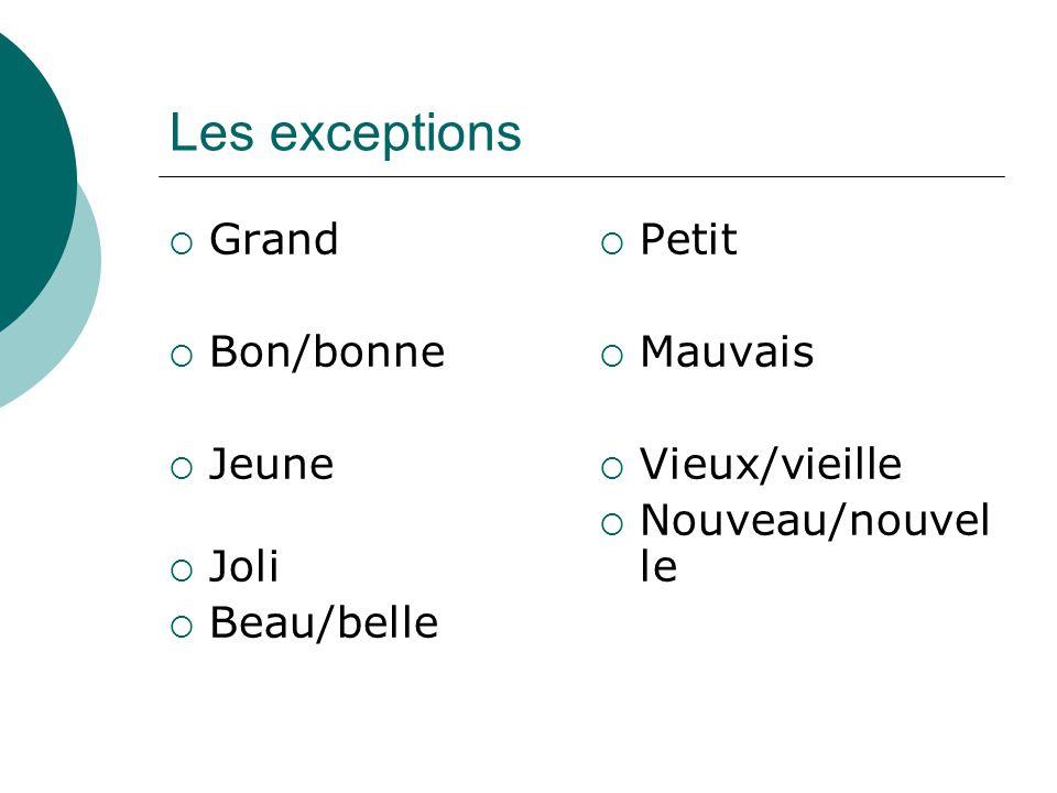 Les exceptions Grand Bon/bonne Jeune Joli Beau/belle Petit Mauvais