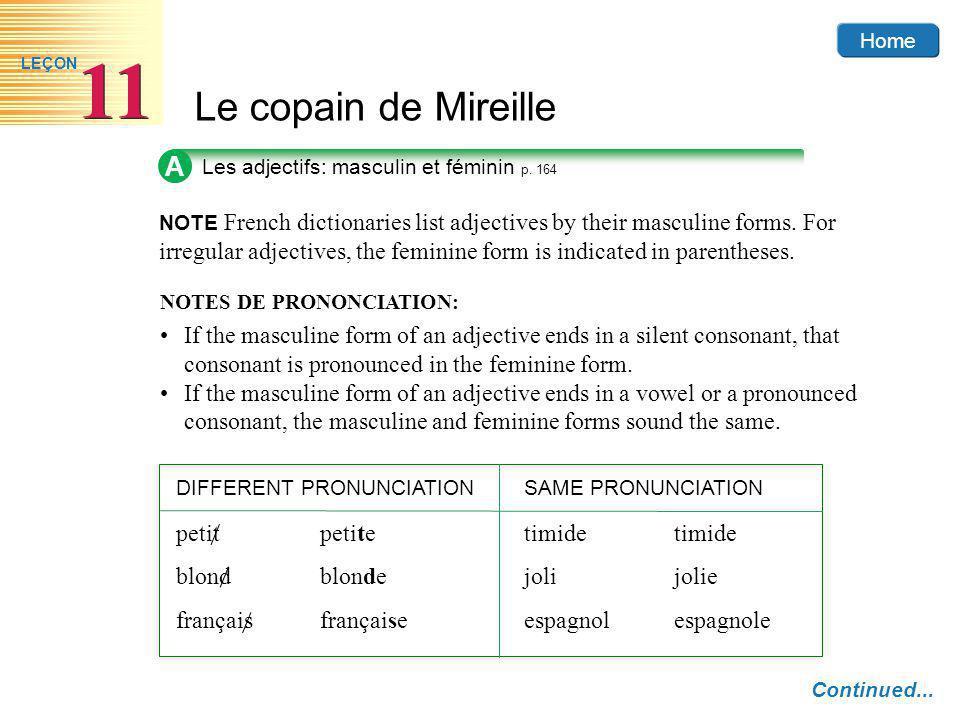 A Les adjectifs: masculin et féminin p. 164.