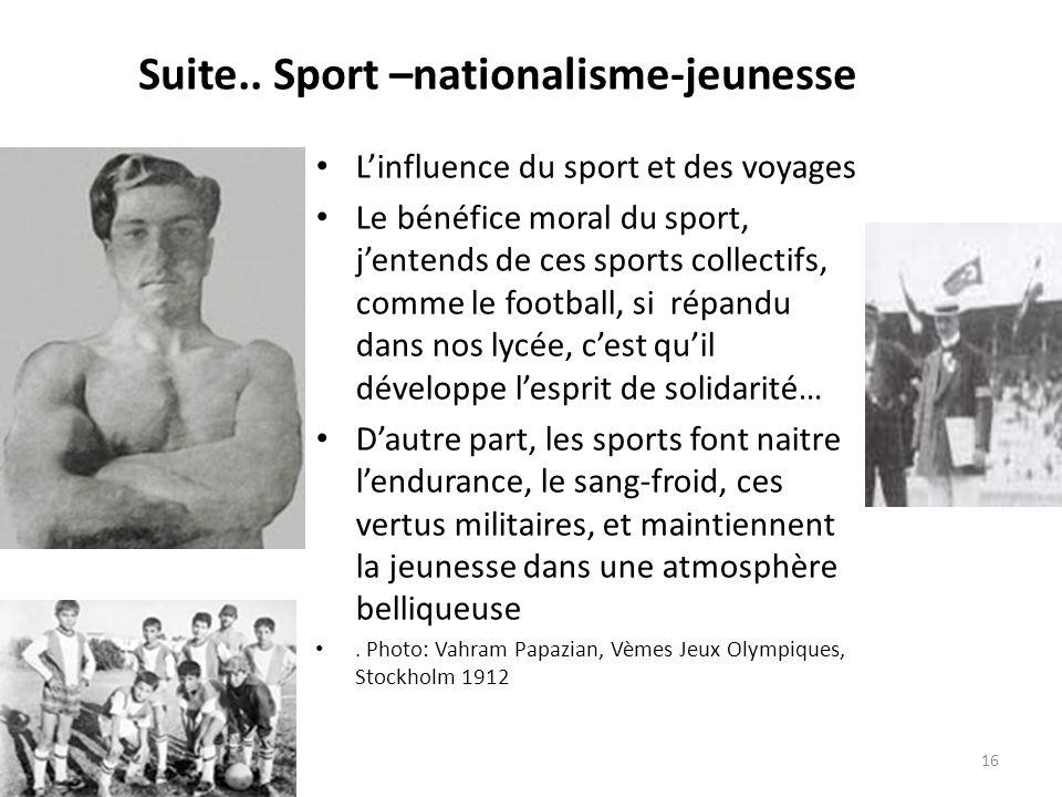 Suite.. Sport –nationalisme-jeunesse