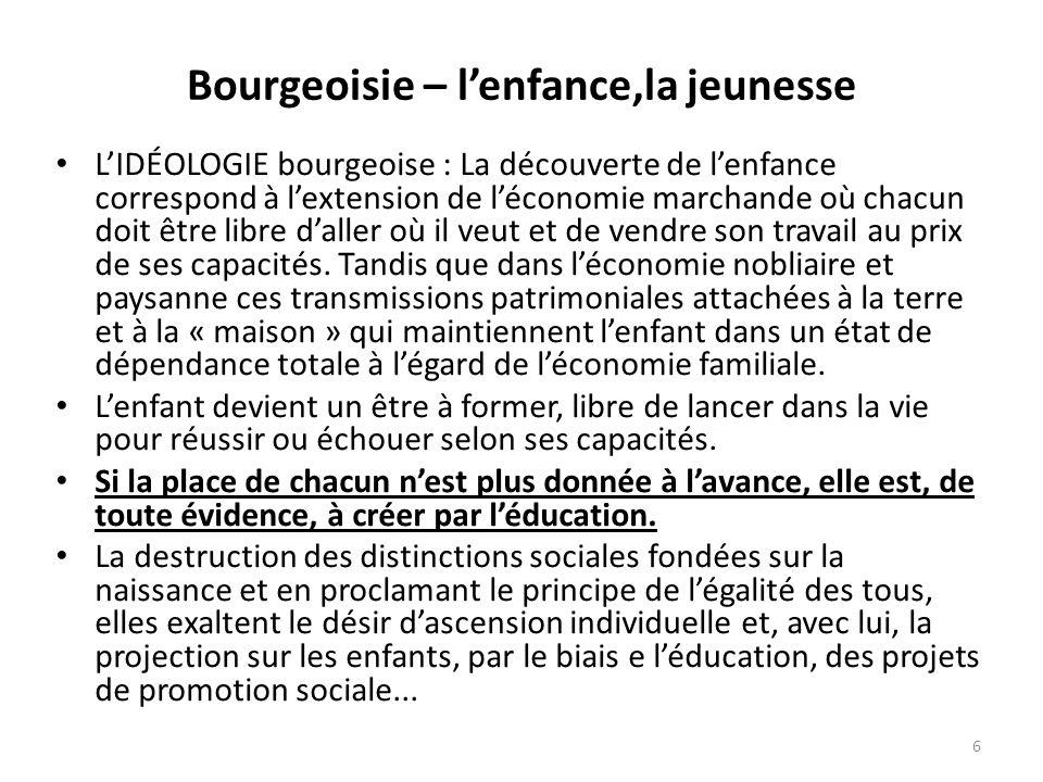 Bourgeoisie – l'enfance,la jeunesse