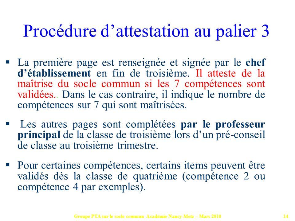 Procédure d'attestation au palier 3