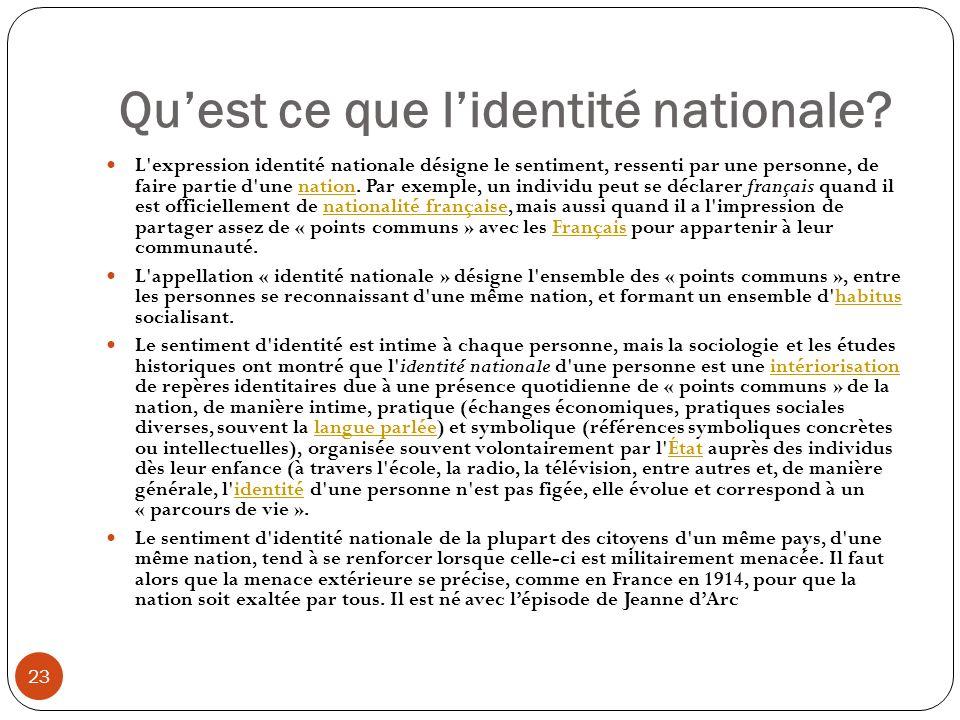 Qu'est ce que l'identité nationale