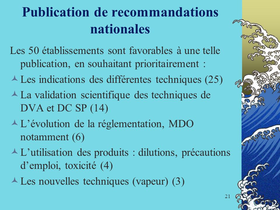 Publication de recommandations nationales