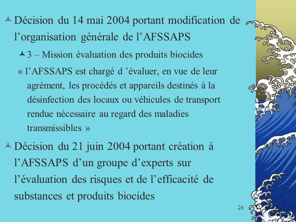 Décision du 14 mai 2004 portant modification de l'organisation générale de l'AFSSAPS