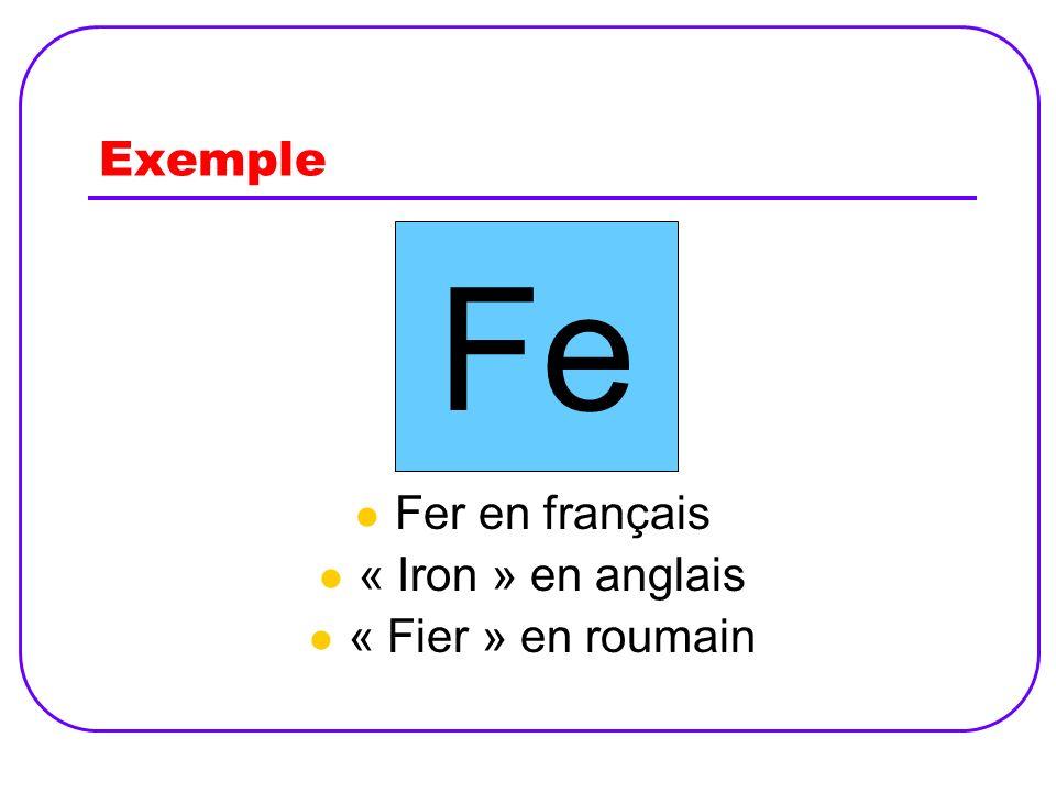 Exemple Fer en français « Iron » en anglais « Fier » en roumain Fe