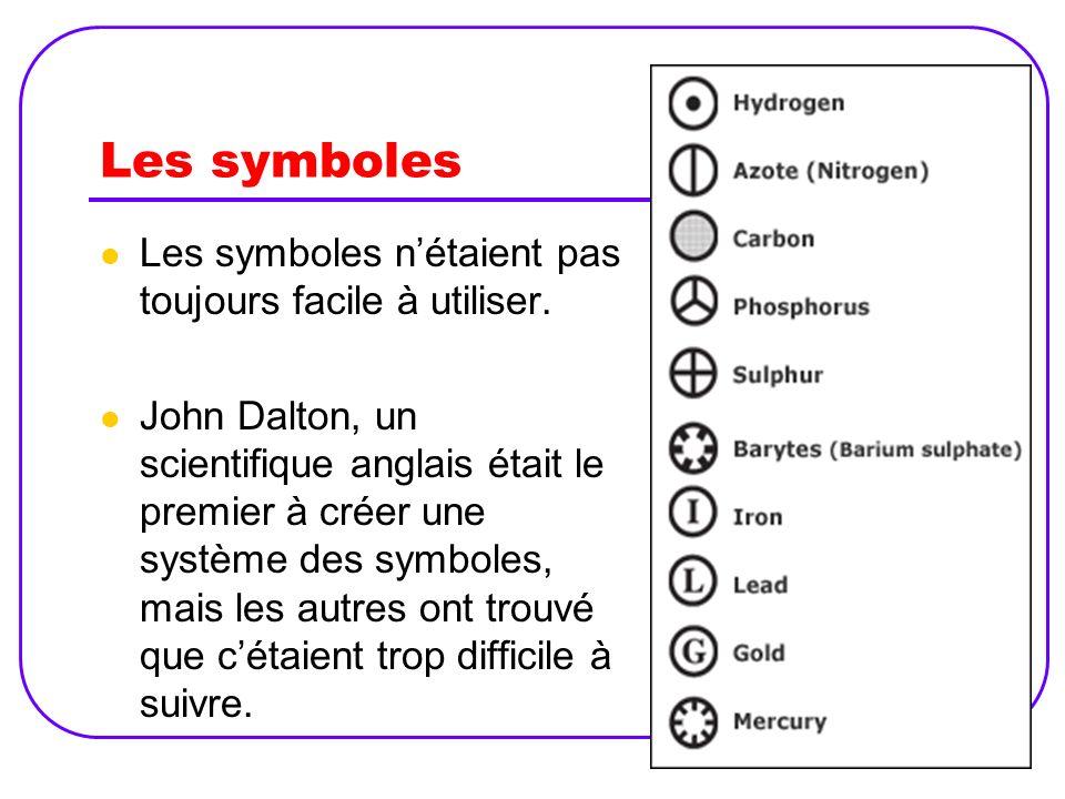 Les symboles Les symboles n'étaient pas toujours facile à utiliser.
