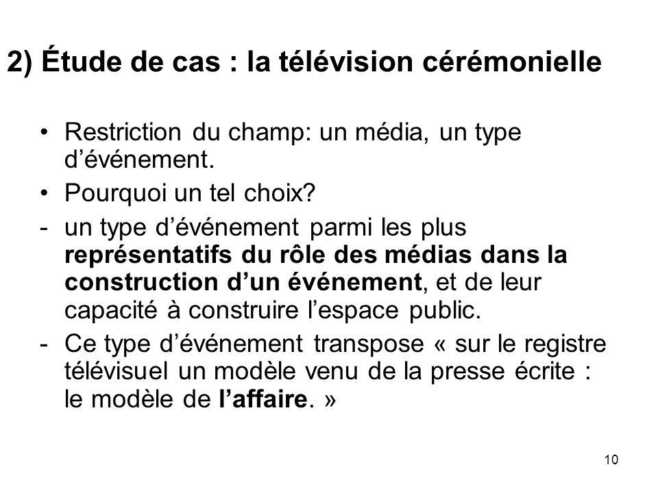 2) Étude de cas : la télévision cérémonielle