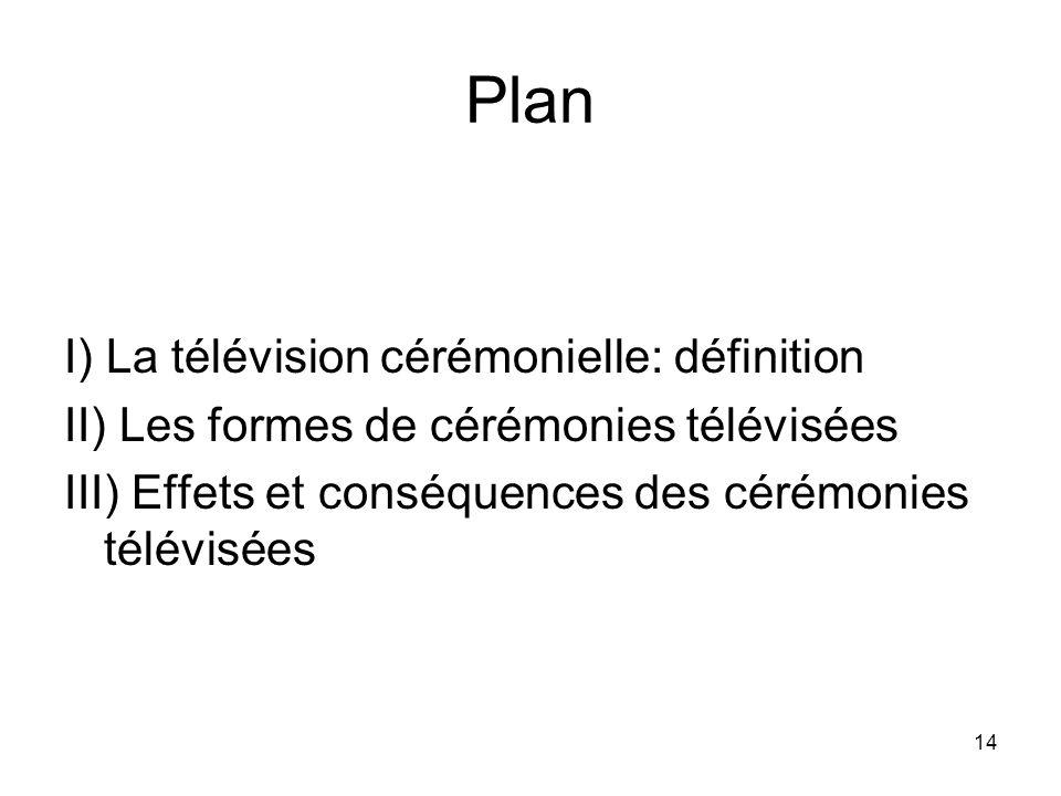 Plan I) La télévision cérémonielle: définition