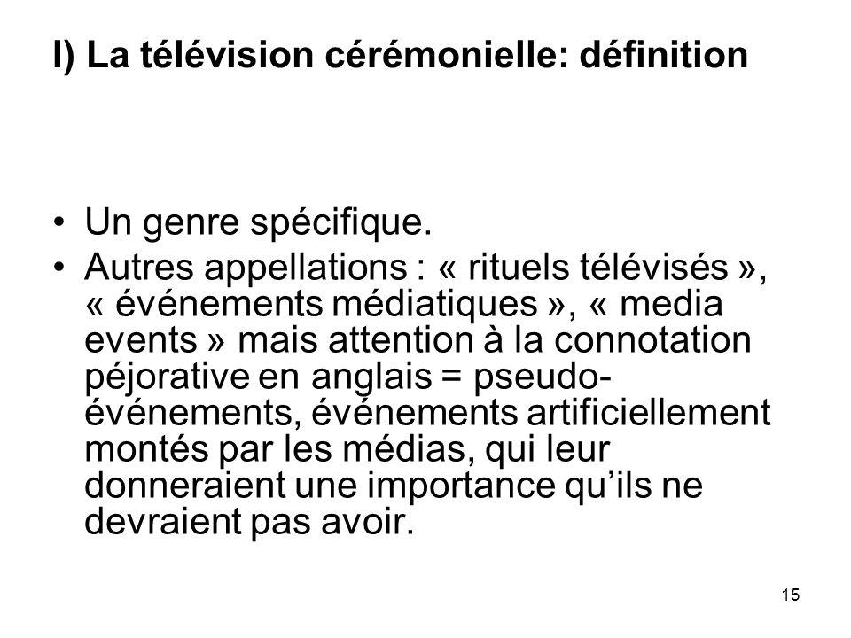 I) La télévision cérémonielle: définition