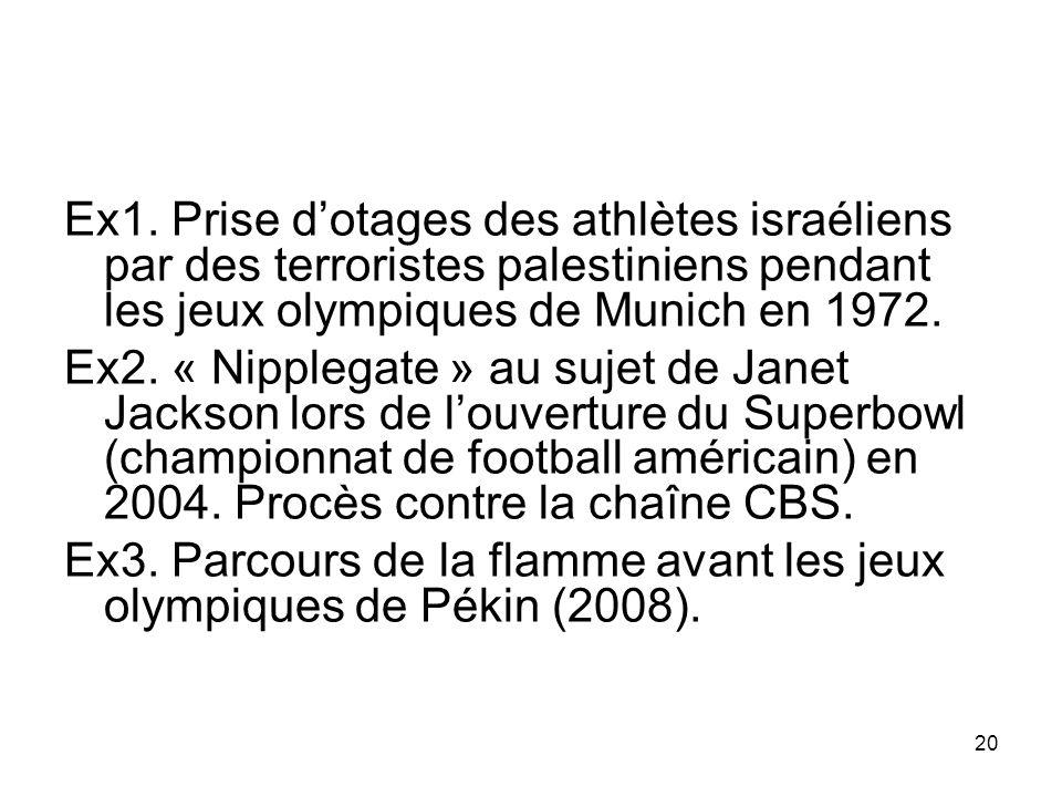 Ex1. Prise d'otages des athlètes israéliens par des terroristes palestiniens pendant les jeux olympiques de Munich en 1972.