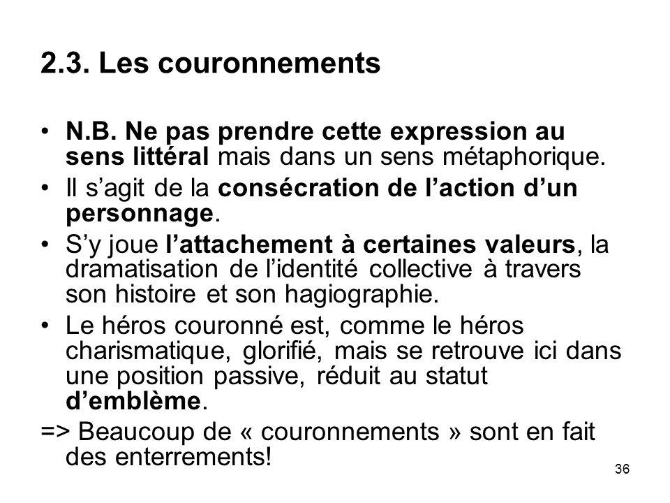 2.3. Les couronnements N.B. Ne pas prendre cette expression au sens littéral mais dans un sens métaphorique.