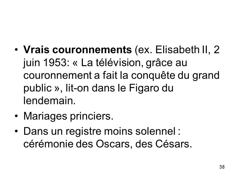 Vrais couronnements (ex
