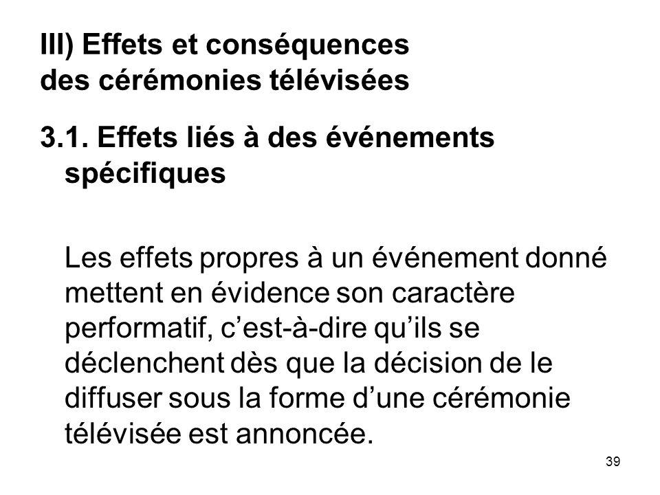 III) Effets et conséquences des cérémonies télévisées