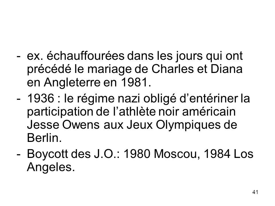 ex. échauffourées dans les jours qui ont précédé le mariage de Charles et Diana en Angleterre en 1981.