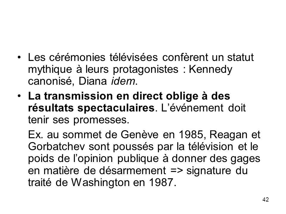 Les cérémonies télévisées confèrent un statut mythique à leurs protagonistes : Kennedy canonisé, Diana idem.
