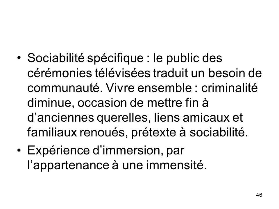 Sociabilité spécifique : le public des cérémonies télévisées traduit un besoin de communauté. Vivre ensemble : criminalité diminue, occasion de mettre fin à d'anciennes querelles, liens amicaux et familiaux renoués, prétexte à sociabilité.