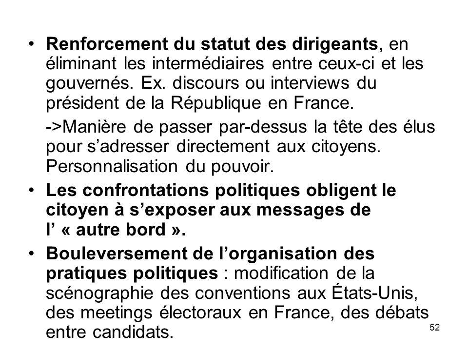 Renforcement du statut des dirigeants, en éliminant les intermédiaires entre ceux-ci et les gouvernés. Ex. discours ou interviews du président de la République en France.