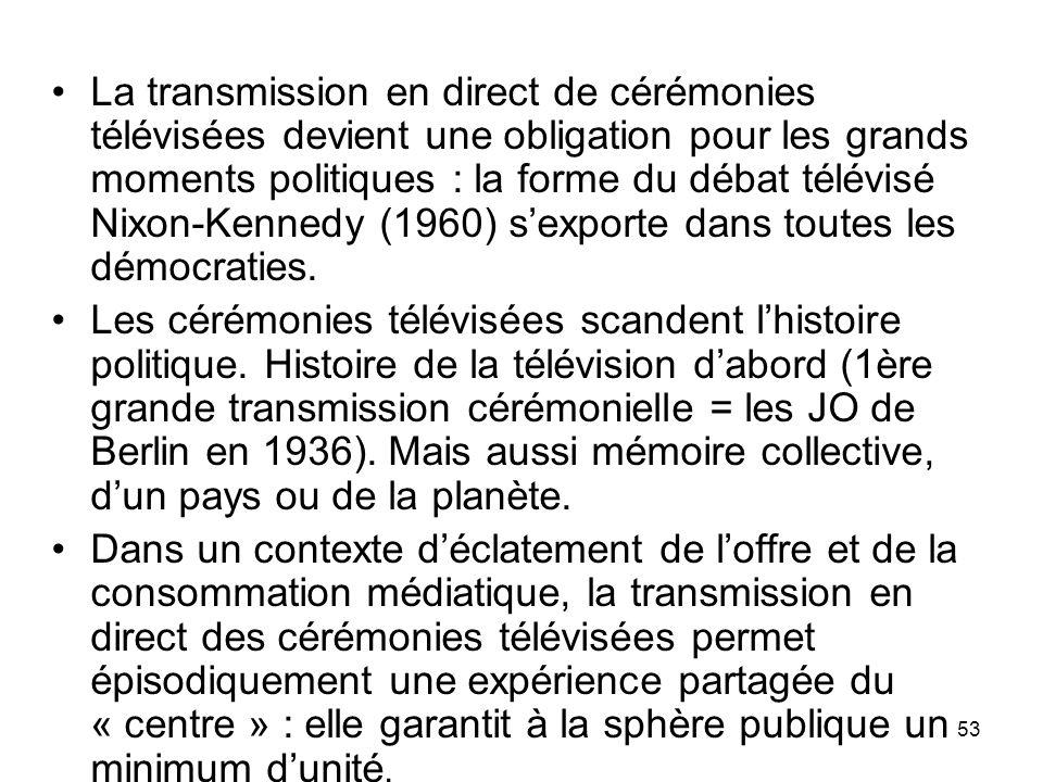 La transmission en direct de cérémonies télévisées devient une obligation pour les grands moments politiques : la forme du débat télévisé Nixon-Kennedy (1960) s'exporte dans toutes les démocraties.